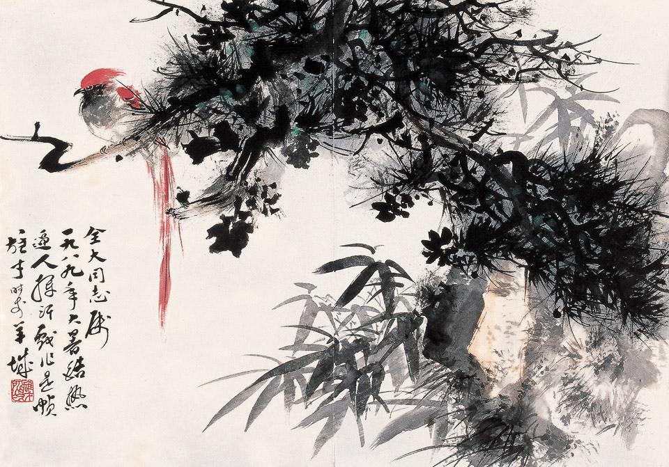 菊花、松鸟