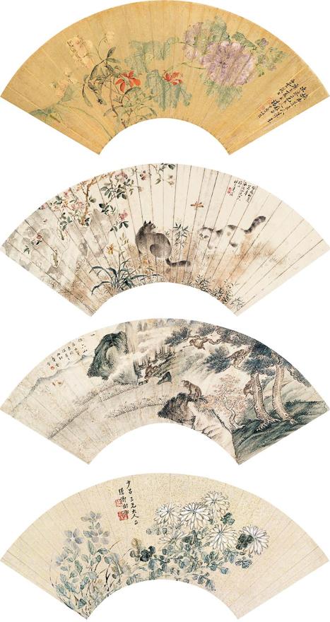 花鸟、书法扇片九帧