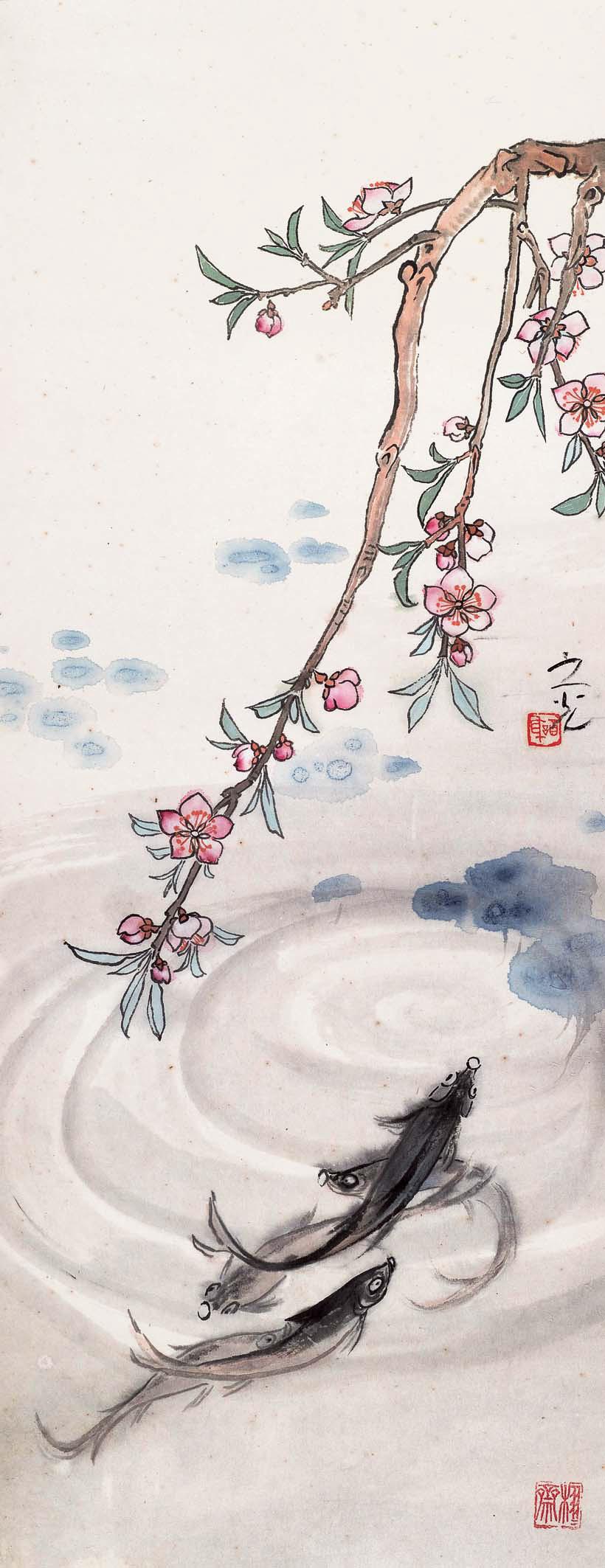 桃花鳜鱼图