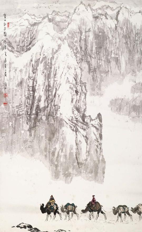 雪山驼运图