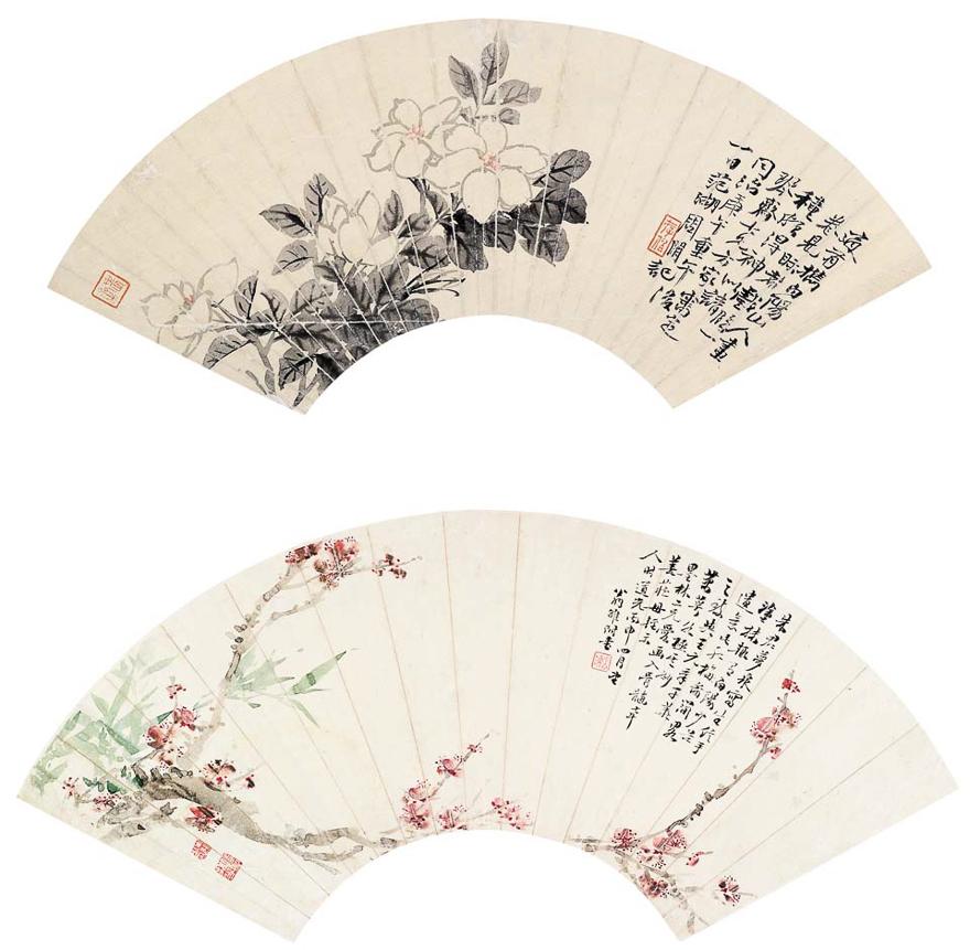 花卉扇片八帧