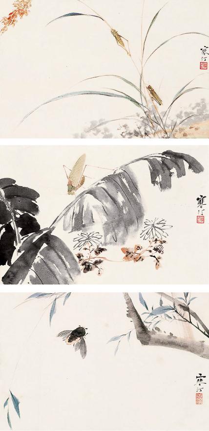花卉草虫三帧