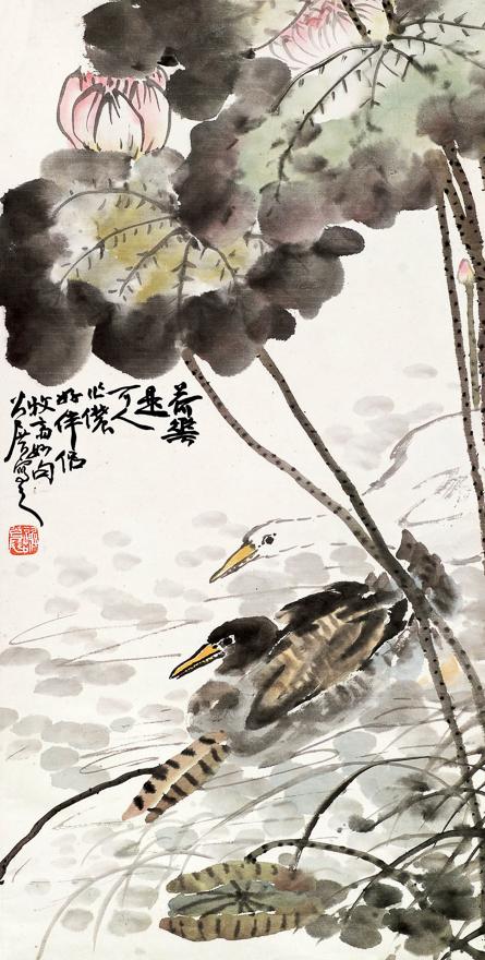 荷塘游凫图