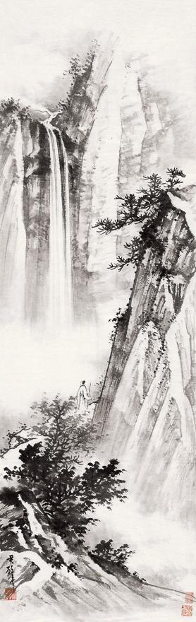 扶杖观瀑图