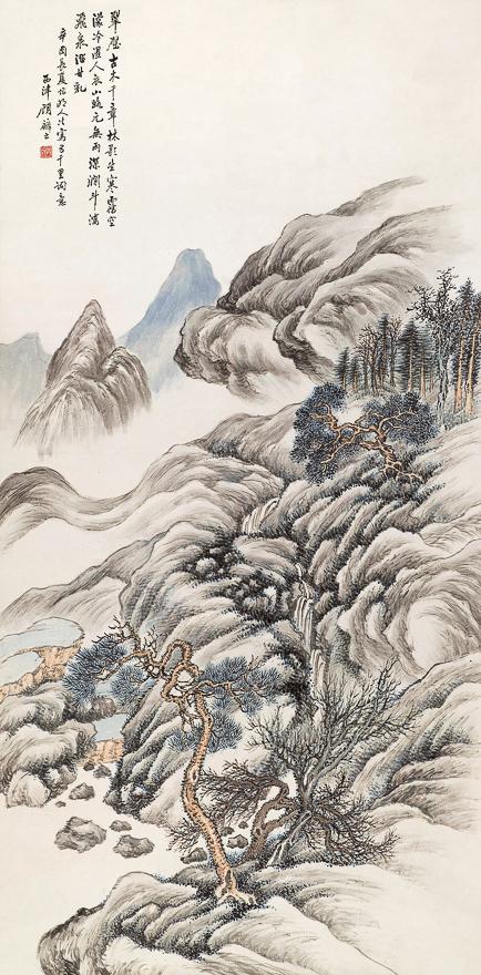 翠壁古木图