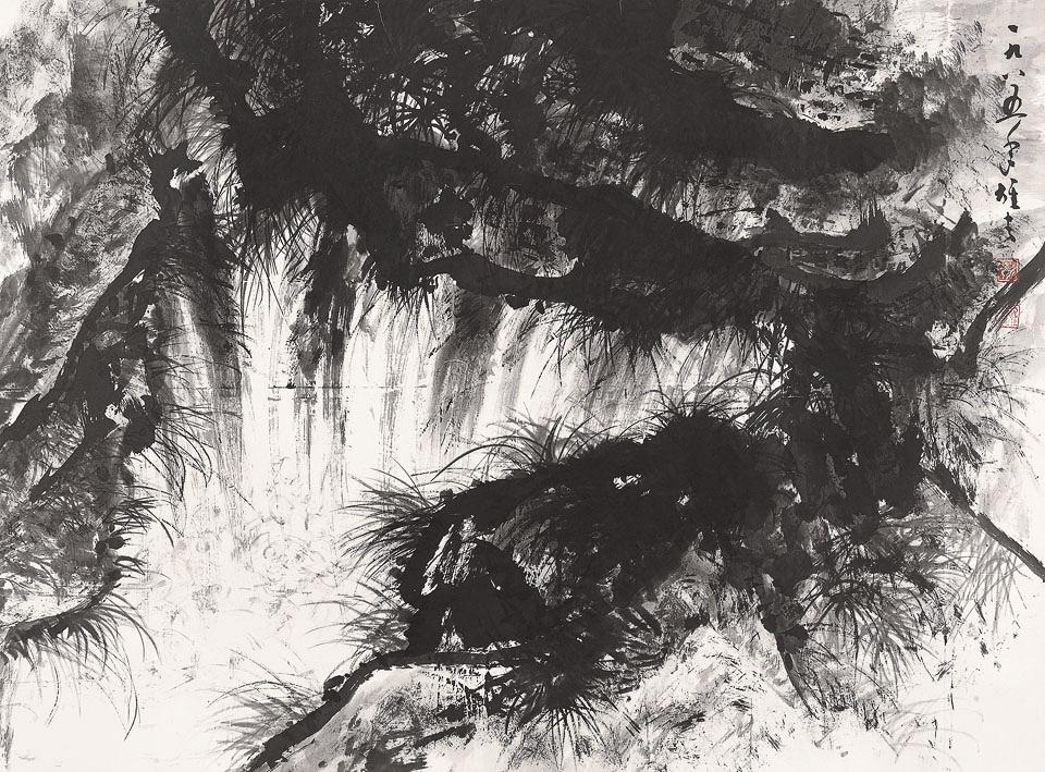 幽涧瀑鸣图