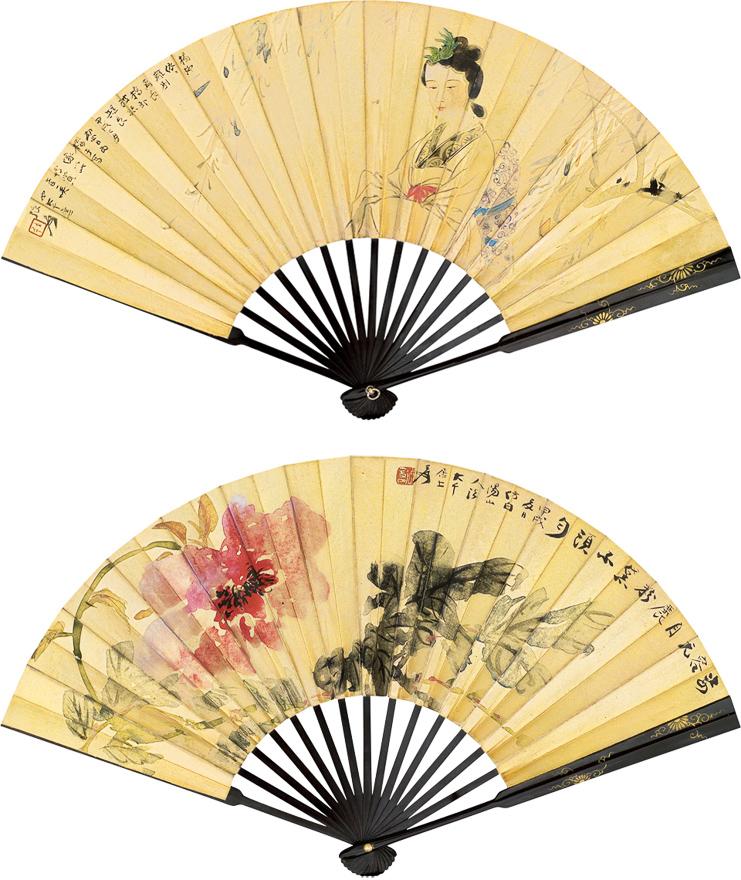 日本女郎并芙蓉图
