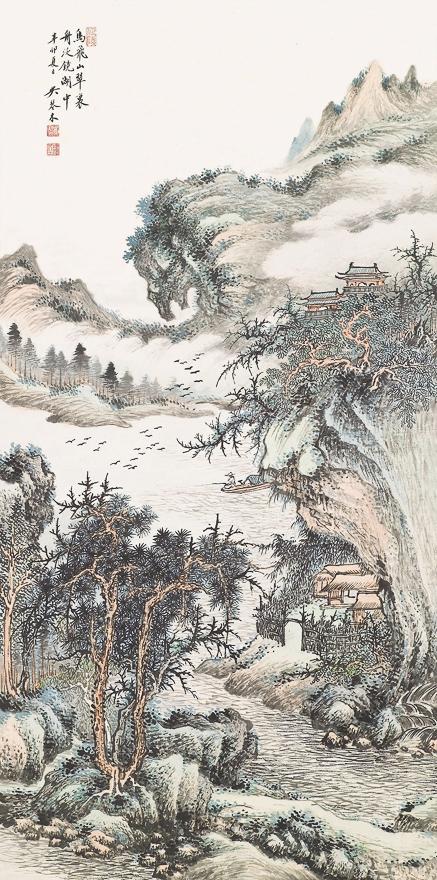 镜湖翠山图
