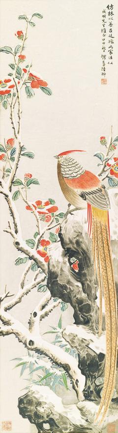 山茶雪禽图