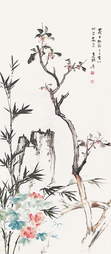 竹石丹桂图