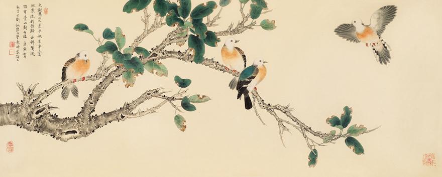 拟崔白花鸟