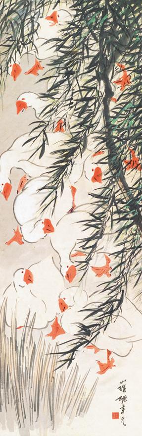 柳塘群鹅图