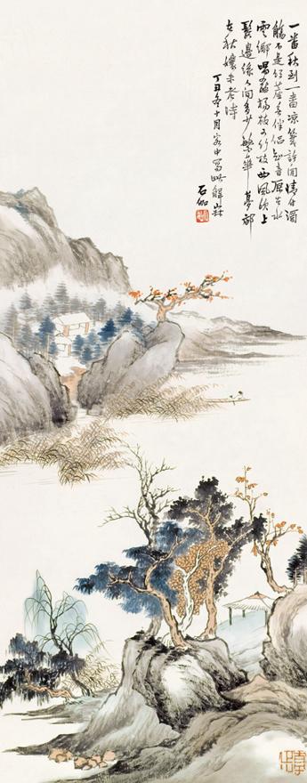 秋江红树图