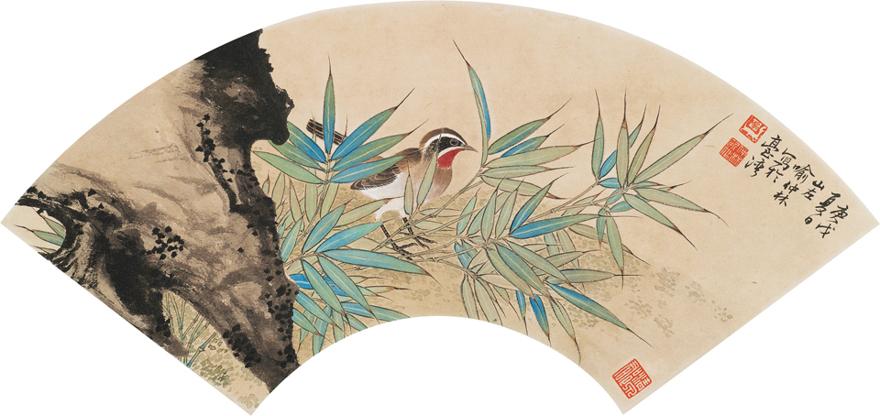 翠竹红羽图