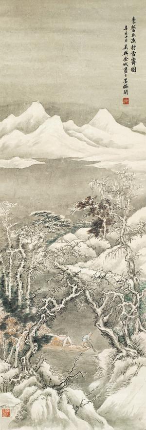 渔村雪霁图