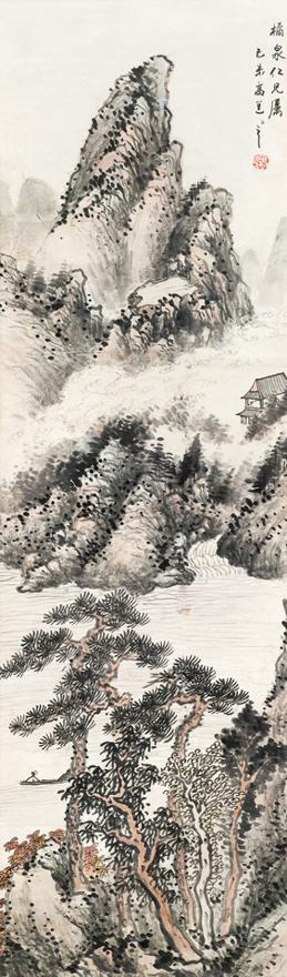 山溪泛舟图