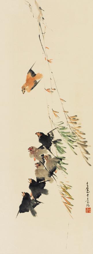 春柳引得群鸟飞