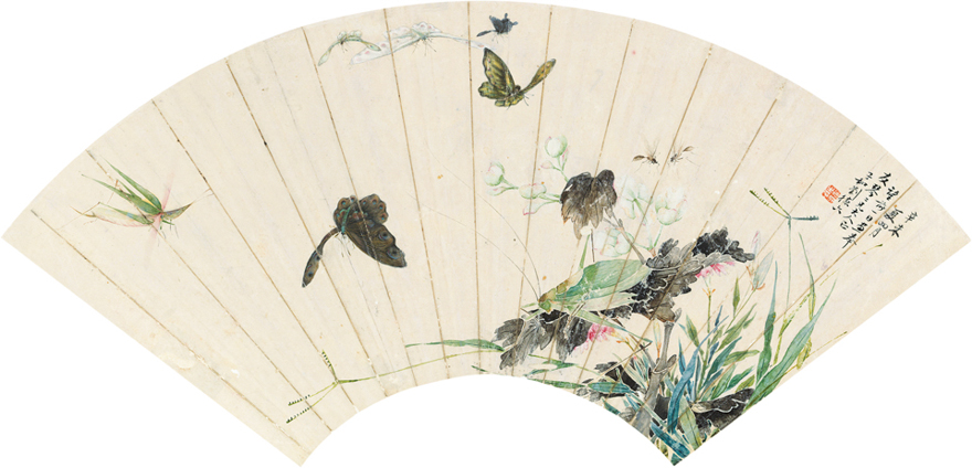 秋虫花蝶图