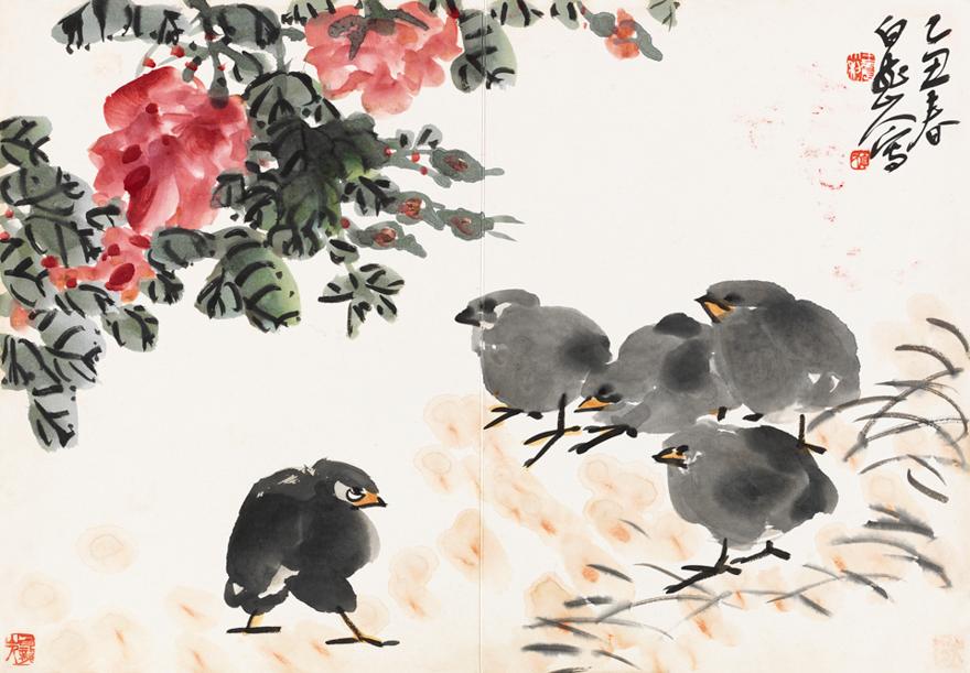 花卉雏鸡图