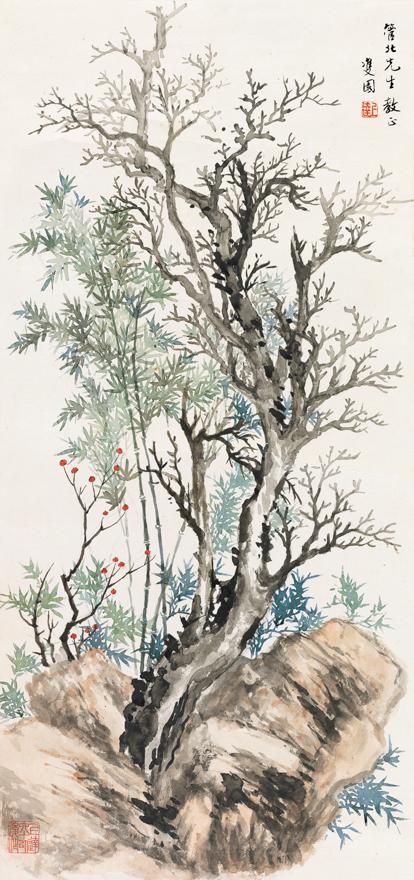 枯树竹石图