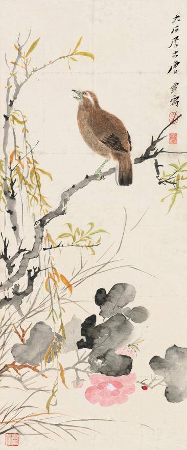 黄雀鸣春图