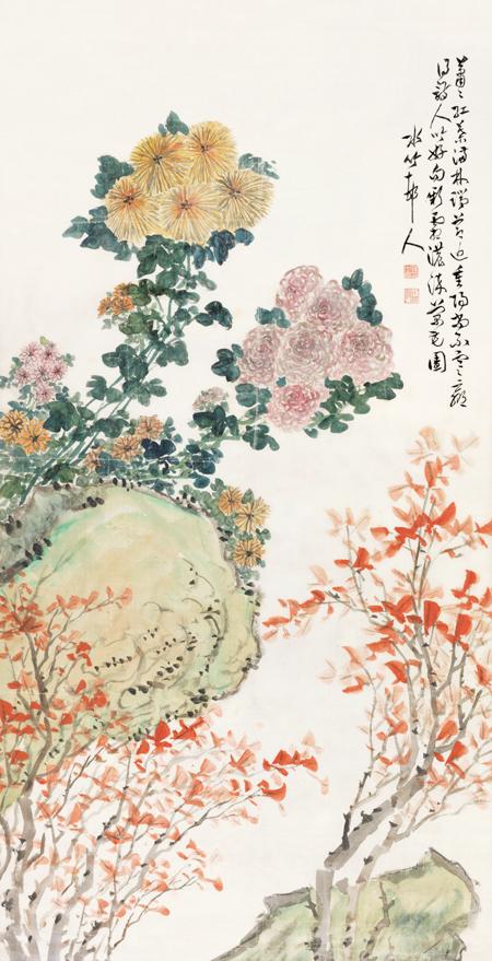 秋菊红叶图