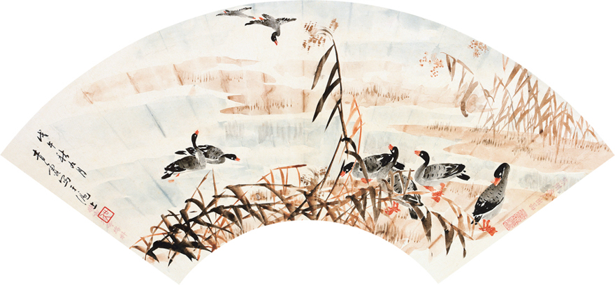 芦苇水鸭图
