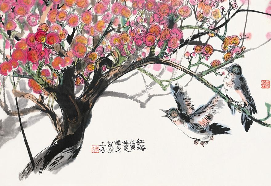 红梅双雀图