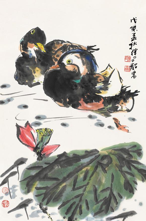 荷塘鸳鸯图