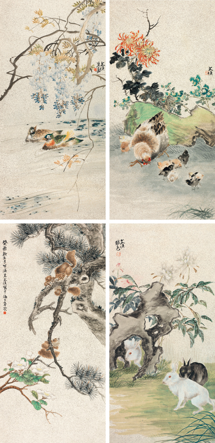 花卉动物四帧