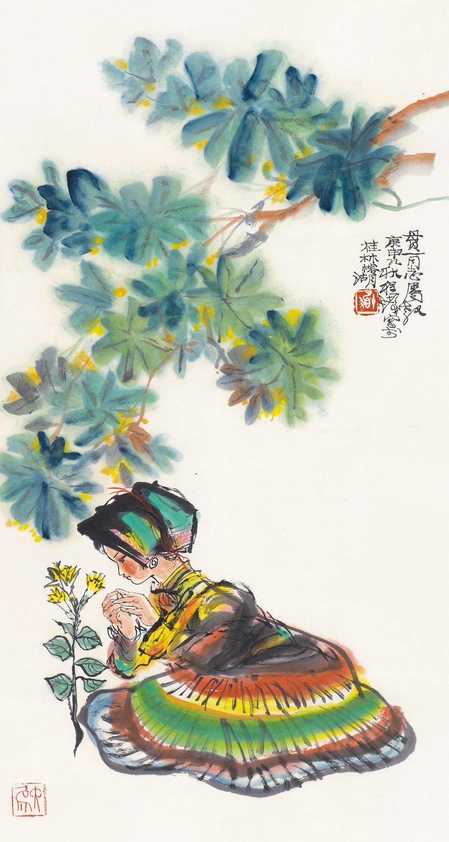花卉少女图