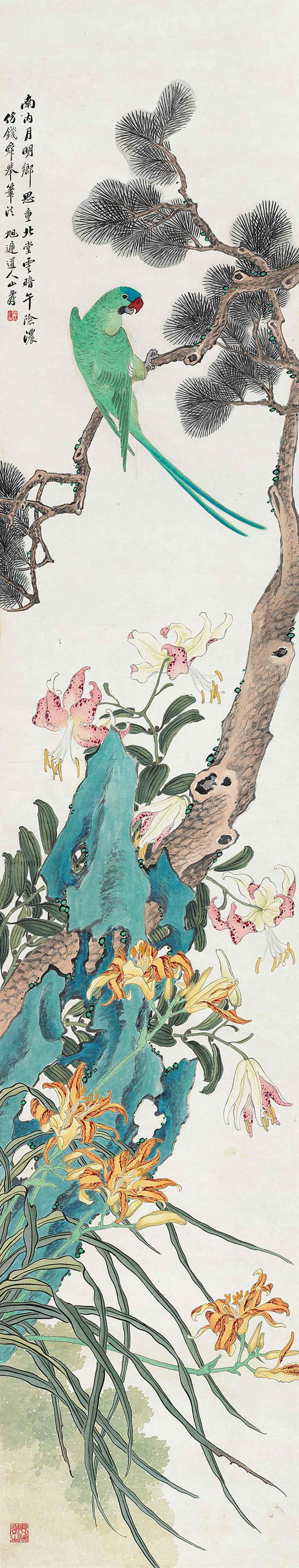 鹦鹉松石图