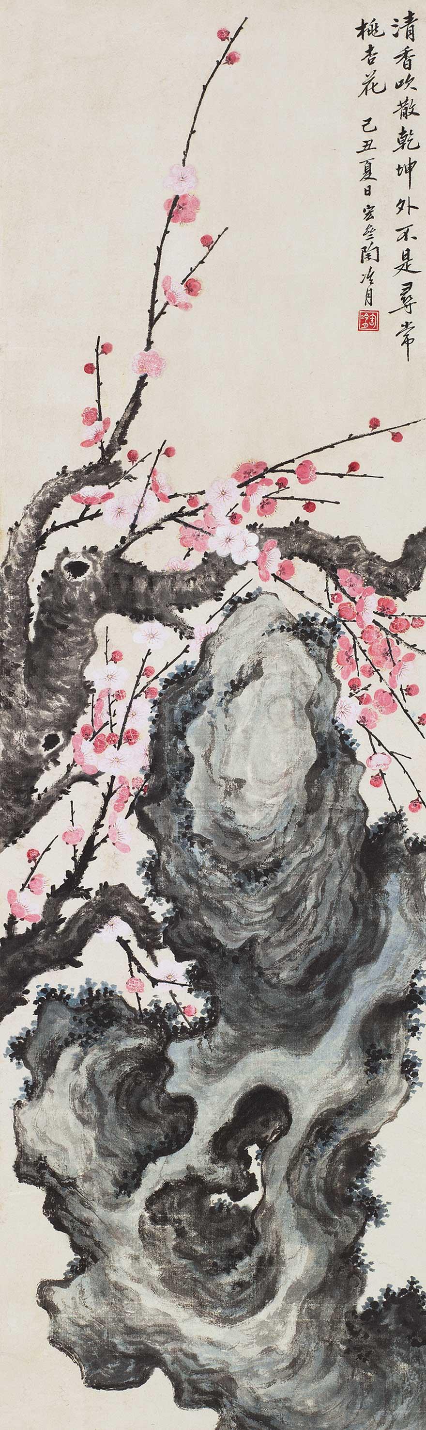 桃花青石图