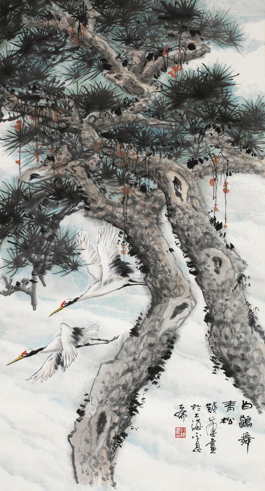 白鹤舞青松图