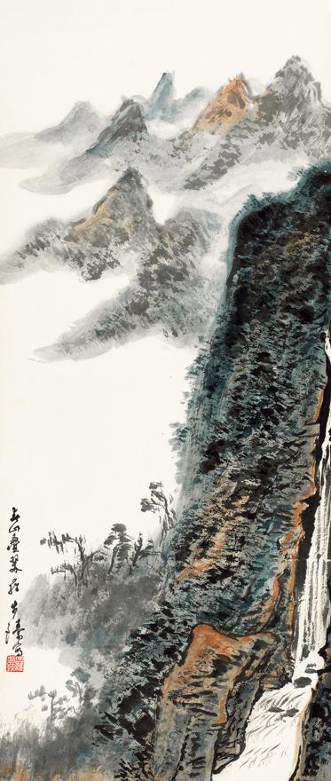 峡间帆影图
