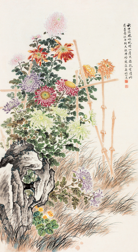 菊篱清风图