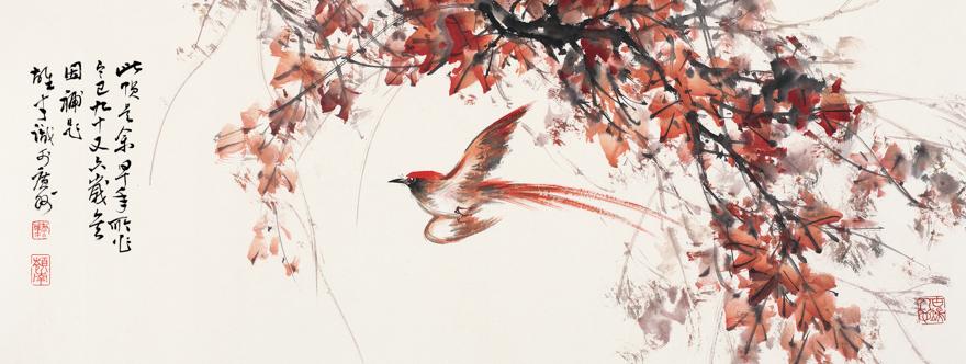 红叶秋禽图