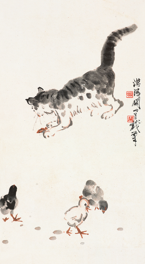 猫戏雏鸡图
