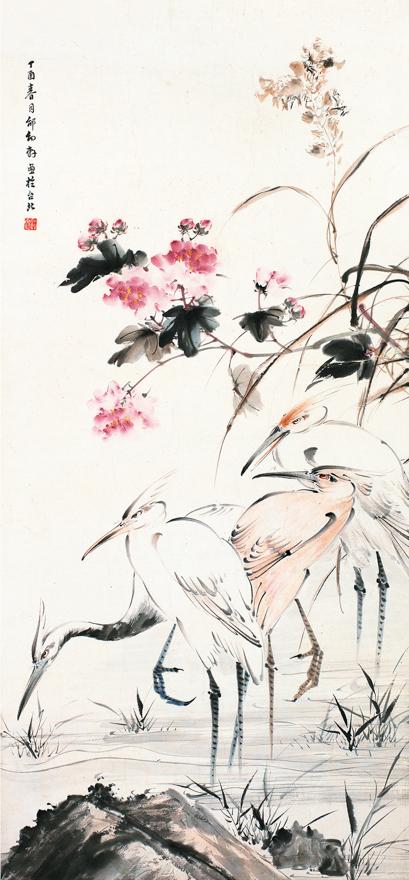 春月鹤戏图