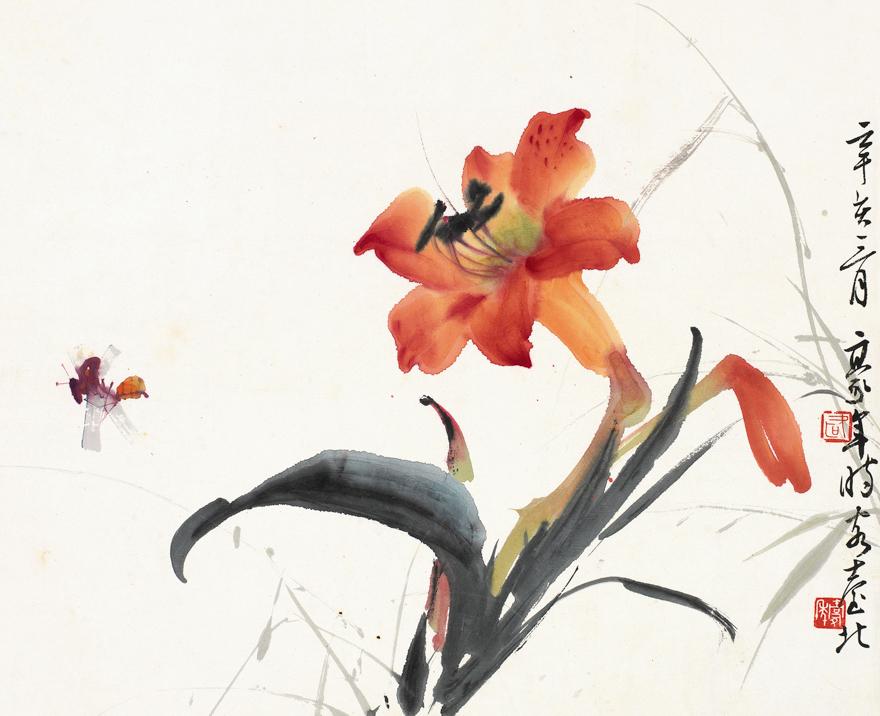 秋虫花卉图