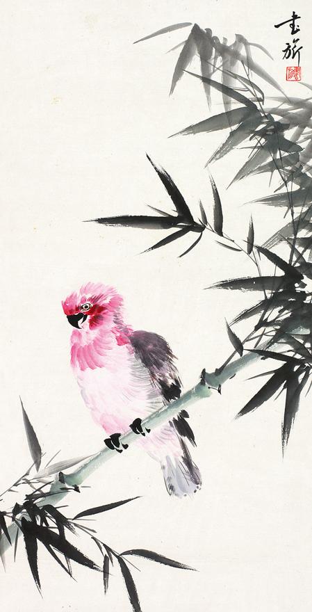 竹枝鹦鹉图