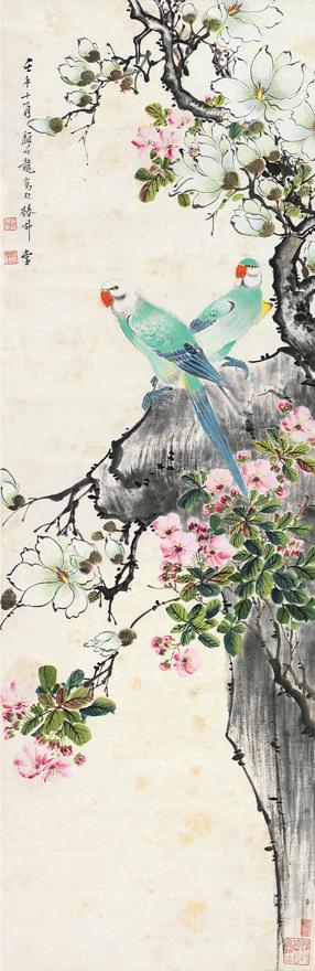望春鹦鹉图