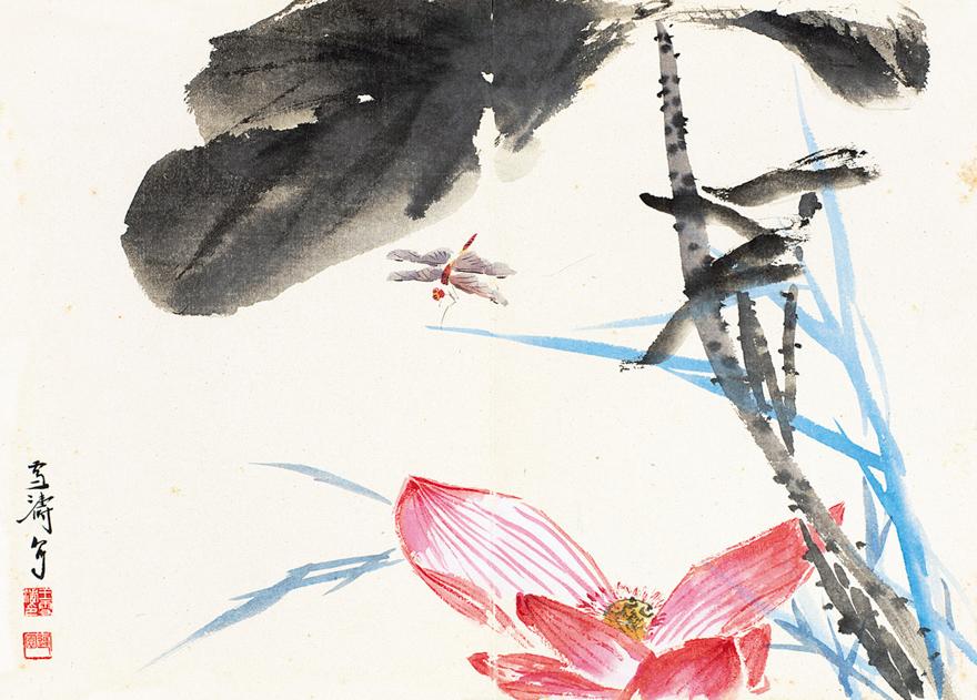 蜻蜓荷花图