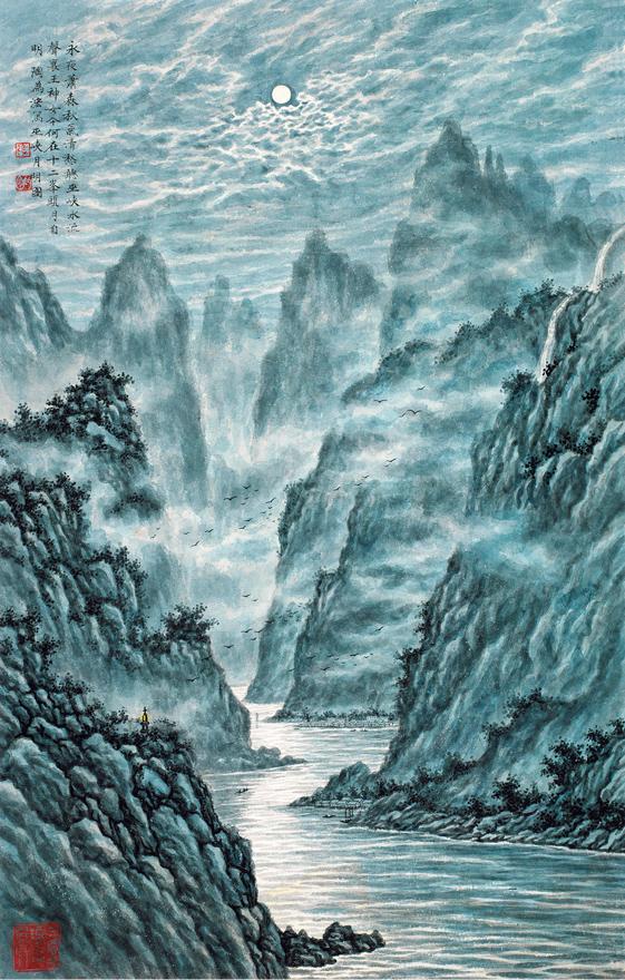 巫峡月明图