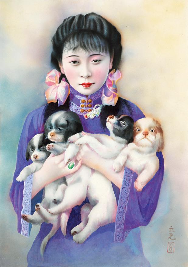 穿紫衣的抱犬女子