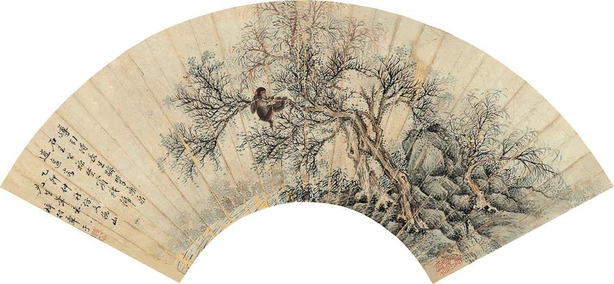 山涧猴戏图