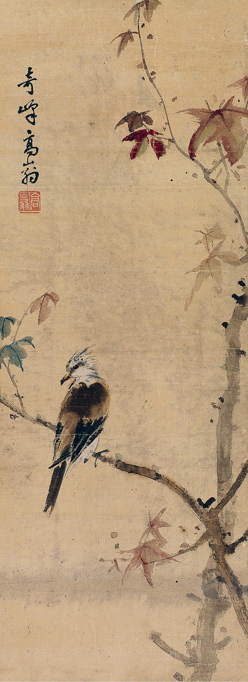 红叶孤鸟图