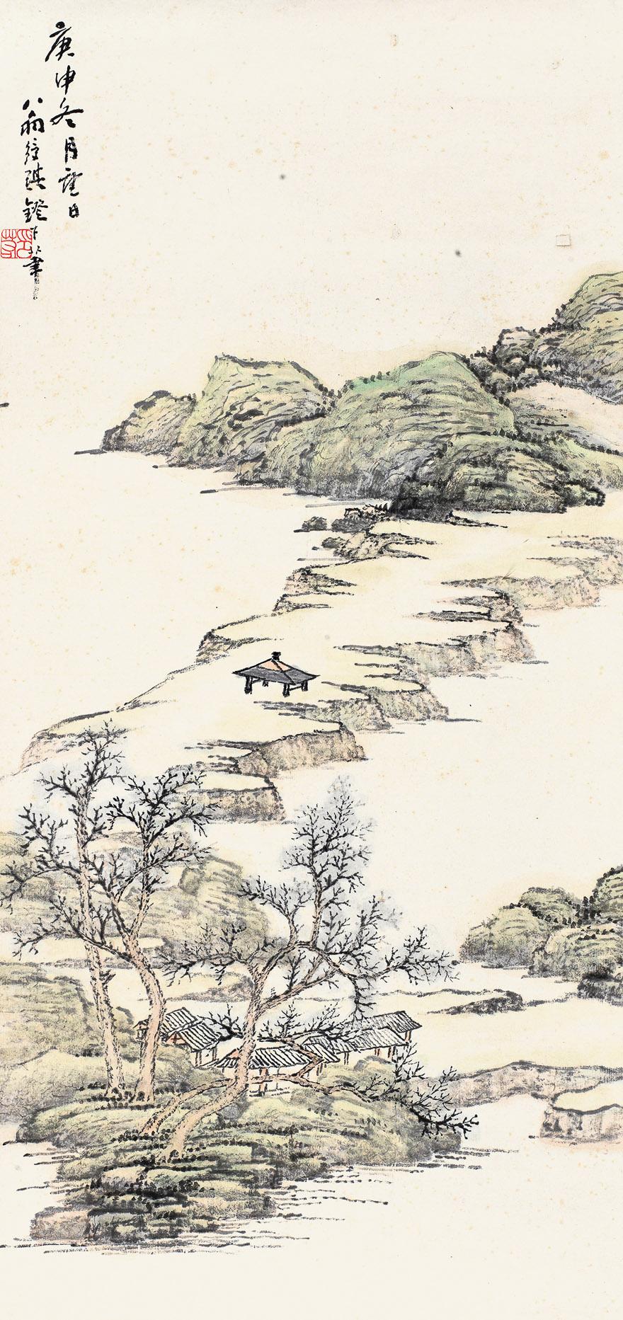 江堤亭林图