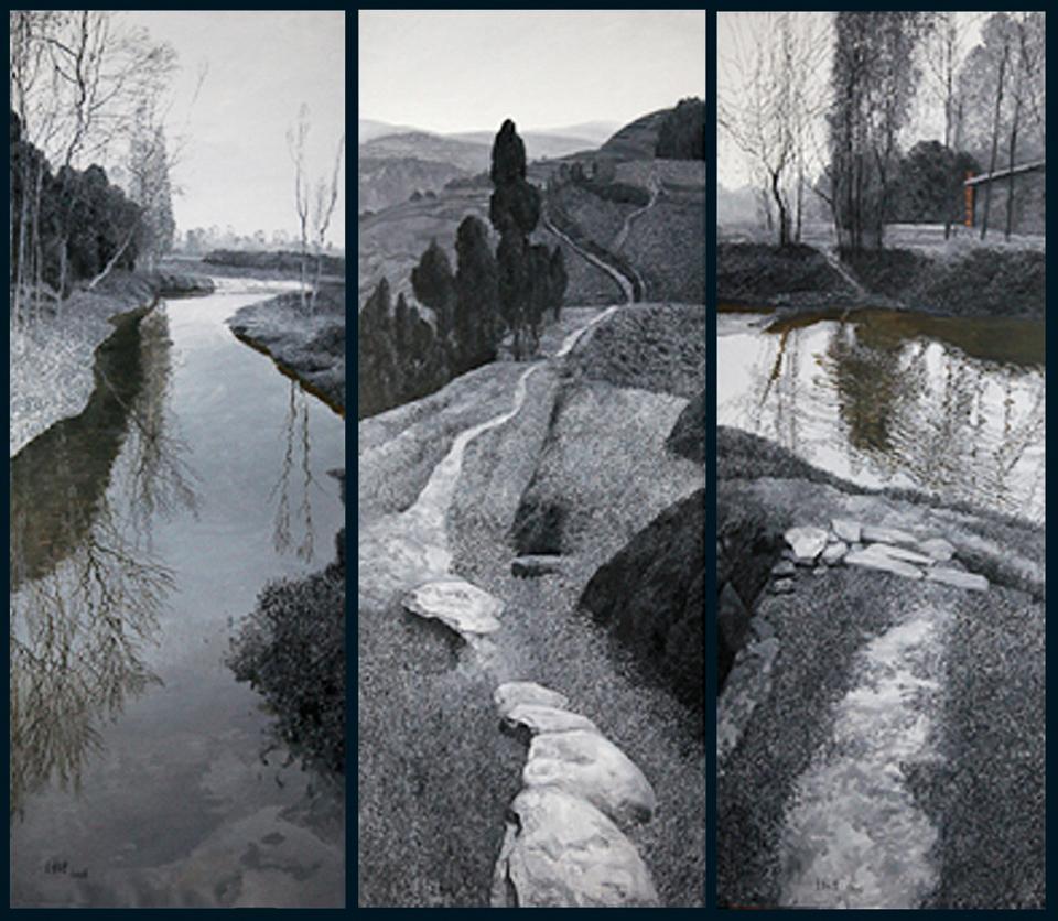 故乡的山·故乡的水(三联幅)