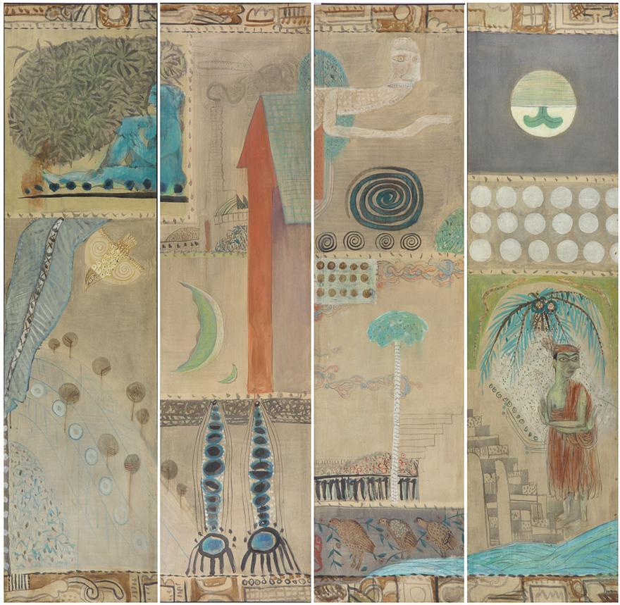 屏风-山水花鸟和人物(四幅)